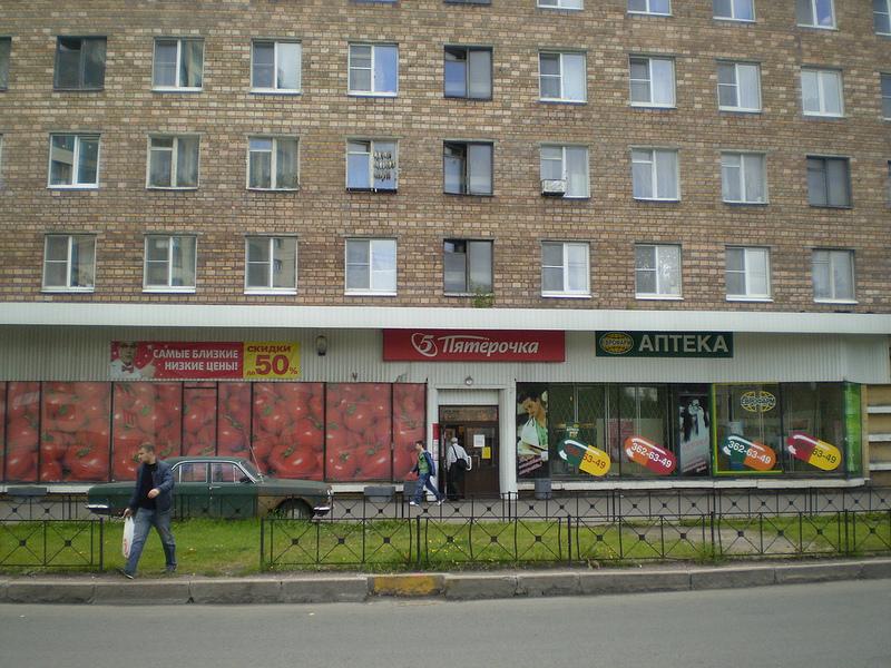 через дорогу — крупные супермаркеты и библиотека